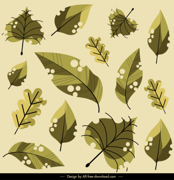 leaves pattern classic green handdrawn sketch