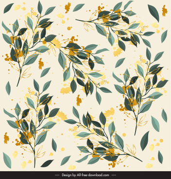 leaves pattern elegant colored grunge decor