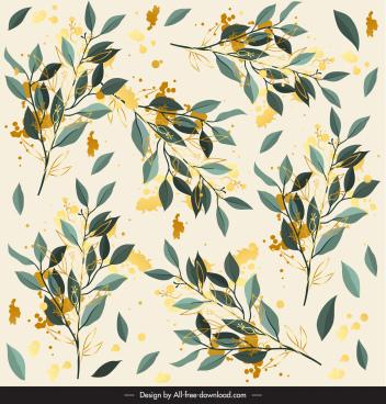 leaves pattern elegant colored grunge decor
