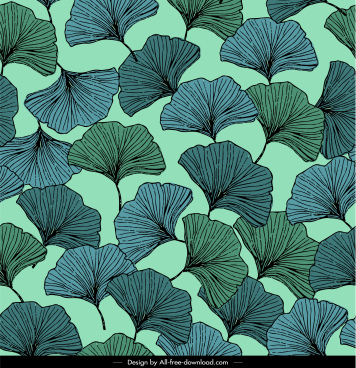 leaves pattern flat classical repeating handdrawn decor
