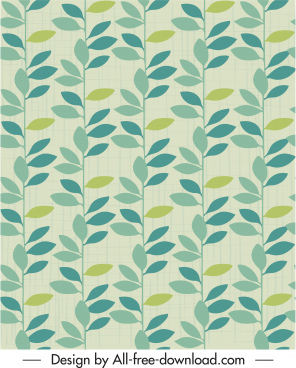 leaves pattern retro colorful flat sketch