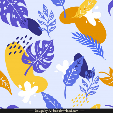 leaves pattern template colored classical handdrawn design