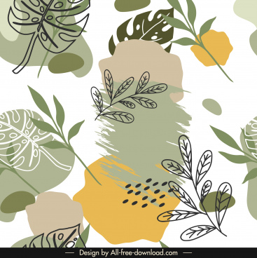 leaves pattern template elegant bright grunge handdrawn decor