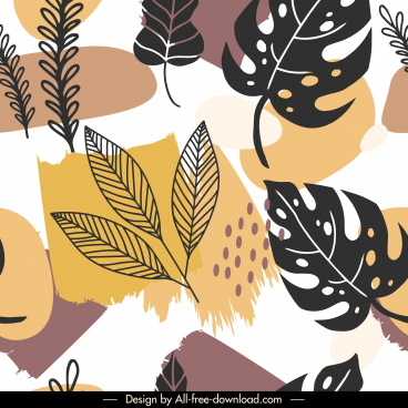 leaves pattern template flat classical handdrawn decor