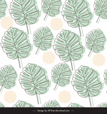 leaves pattern template flat classical handdrawn sketch