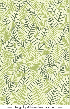 leaves pattern template flat green classical decor
