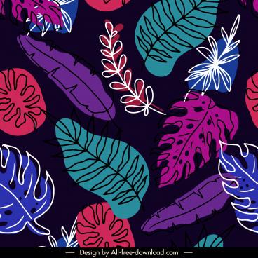 leaves pattern template handdrawn sketch colorful dark design