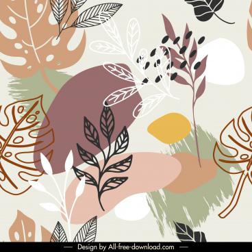 leaves pattern template retro handdrawn sketch