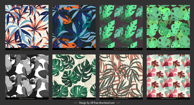 leaves pattern templates colorful classic design