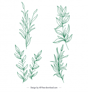 leaves plants icons green classic handdrawn sketch