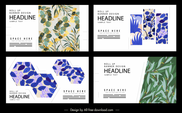 leaves posters templates colored retro decor