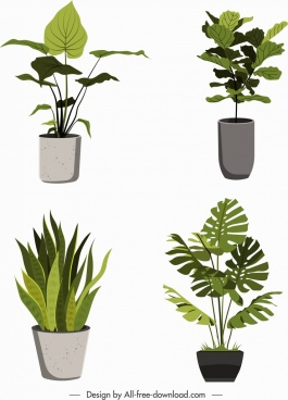 leaves pots icons classical green grey decor