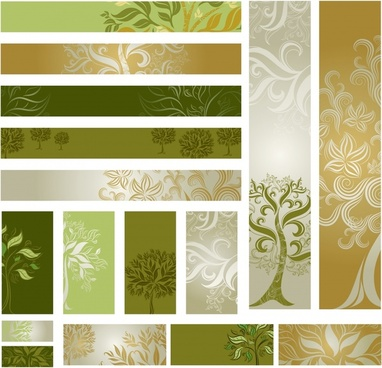 decorative banner templates elegant leaves trees curves sketch