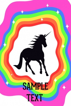 legend background unicorn silhouette design colorful rainbow decor