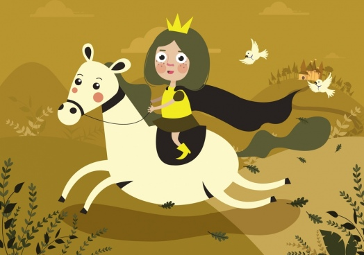 legend story background horse princess icons cartoon design