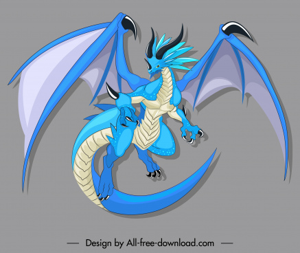 legendary dragon icon colored cartoon character design