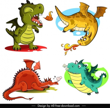 legendary dragon icons funny cartoon characters