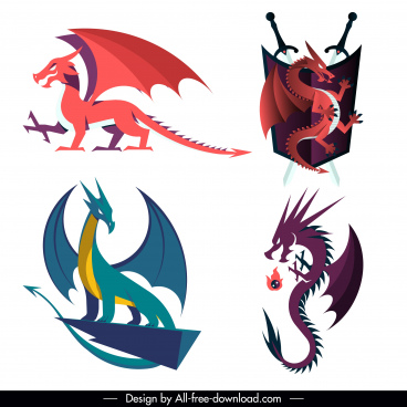 legendary dragon icons western design colored classic sketch