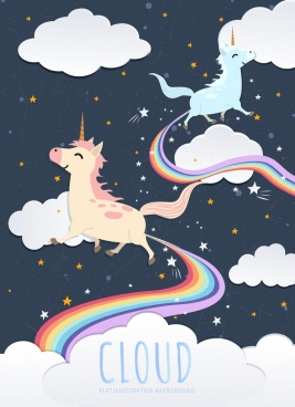 legendary unicorn drawing colorful rainbow white clouds decor