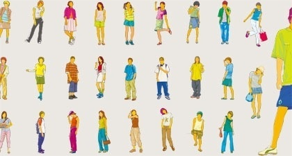 human icons collection colored casual design