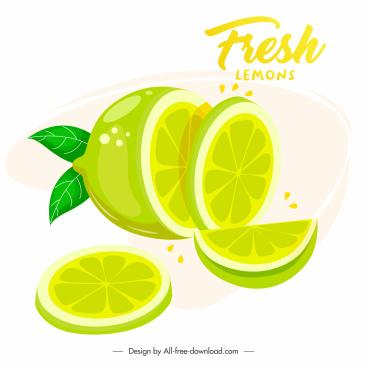 lemon advertising banner bright colored 3d sliced cut