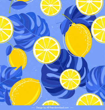 lemon background colorful classic slices leaves decor
