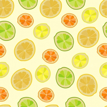 lemon background colorful slice icons repeating decoration
