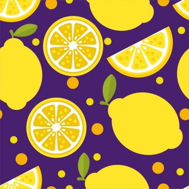 lemon background yellow slices icons repeating decor