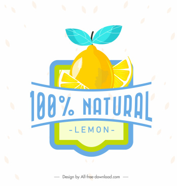 lemon badge template simple flat slices ribbon decor