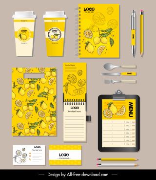 lemon branding identity sets colored vintage handdrawn decor