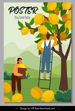 lemon crop poster huge fruits cartoon sketch