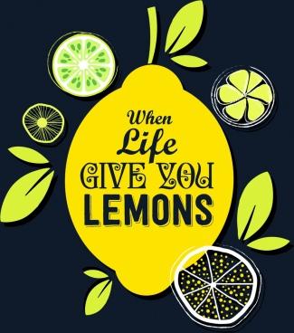 lemon fruit advertising slice icons handdrawn decor