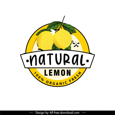 lemon fruit label template colored classic decor