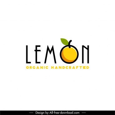lemon fruit logotype flat texts classic design