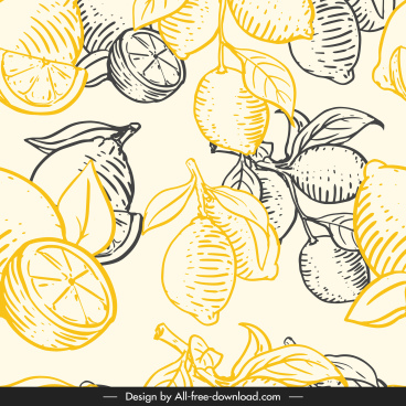 lemon fruit pattern flat handdrawn vintage decor