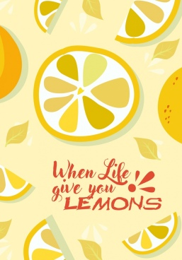 lemon fruits background slices icons yellow design