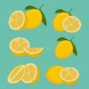 lemon icons collection 3d yellow slices retro design