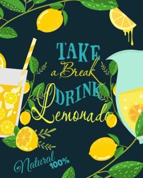 lemon juice advertisement multicolored dark design fruit icon