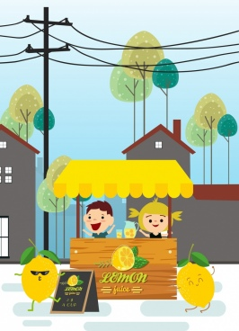 lemon juice advertisement stylized fruit cute kids icons