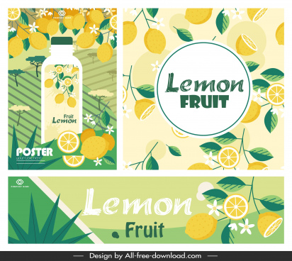 lemon juice advertising banner bright colorful classic decor