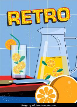 lemon juice advertising banner colorful flat sketch