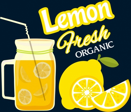 lemon juice advertising fruit jar icons flat design