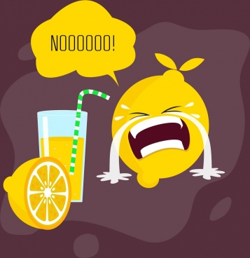 lemon juice advertising funny stylized icons cry emotion