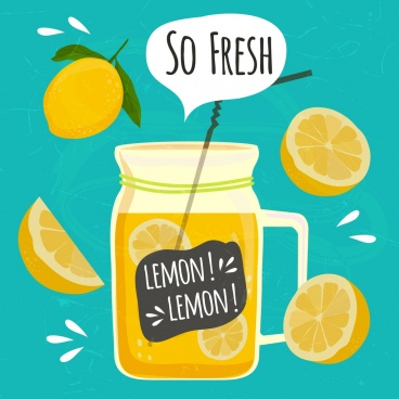lemon juice advertising slice fruit jar icons decor