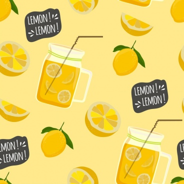 lemon juice background slices jar icons repeating design