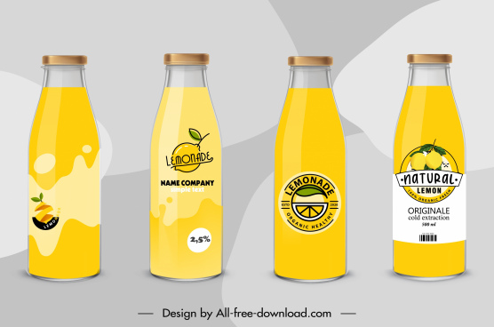 lemon juice bottles template yellow decor flat sketch