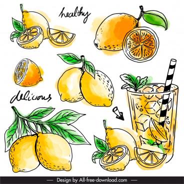 lemon juice design elements retro handdrawn sketch