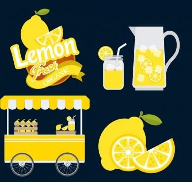 lemon juice design elements various yellow icons