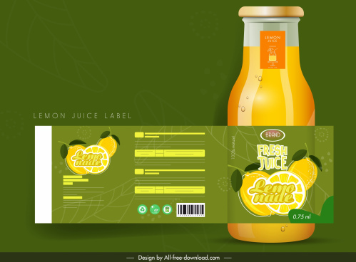 lemon juice label template colored flat decor