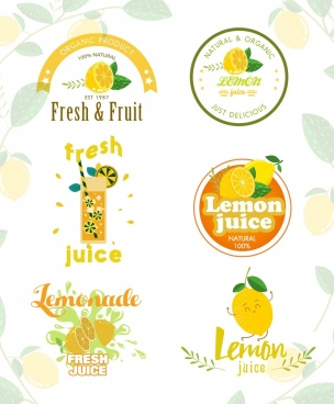 lemon juice logotypes various multicolored shapes isolation